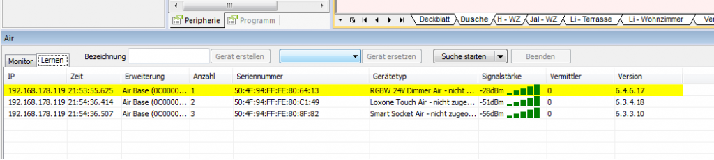 Air Monitor - Gefundene Geräte